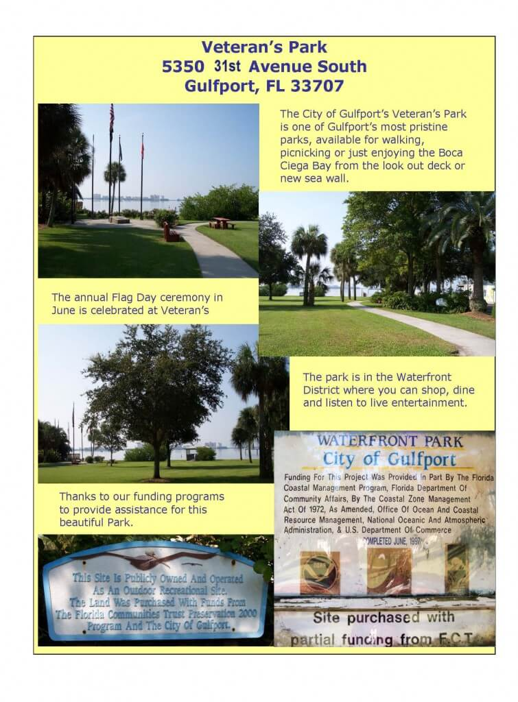 Flyer about Veteran's Park