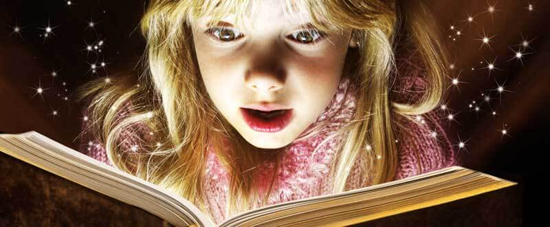Girl Reading a Magical Book