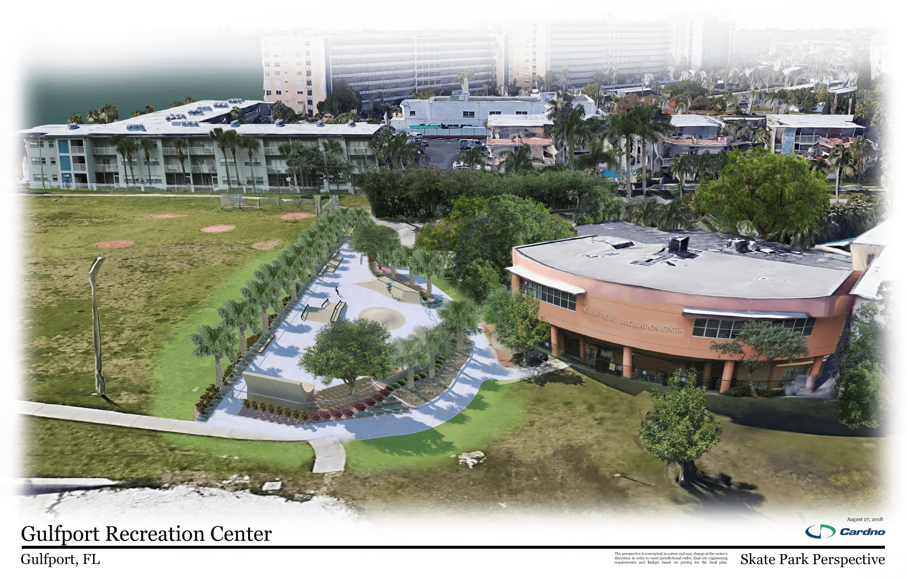Gulfport Recreation Center Skate Park Sky Perspective