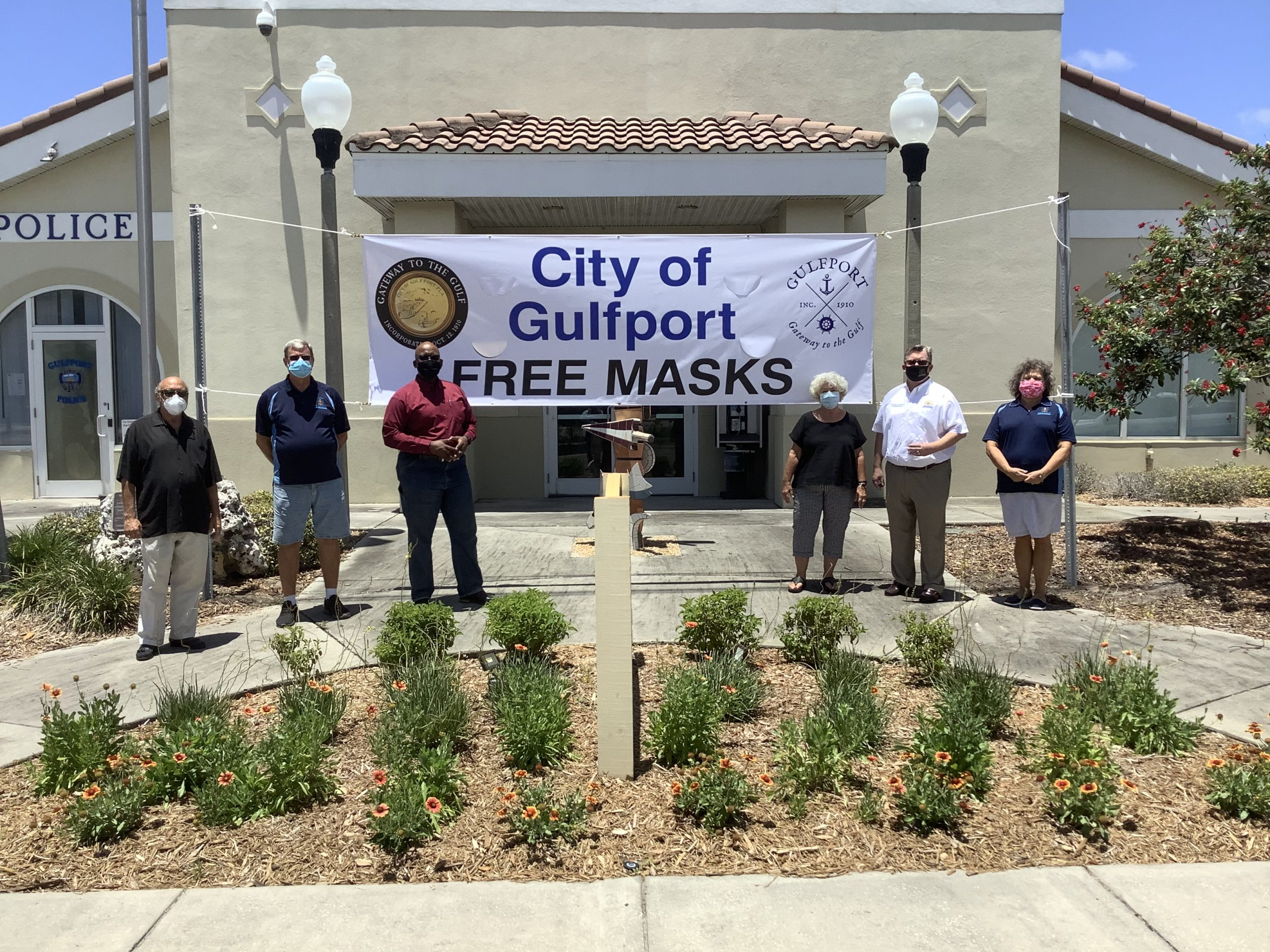 Pictured here are the City of Gulfport Vice Mayor, Michael Fridovich, City of Gulfport Councilmember, Paul Ray, Pinellas County Commissioner, Kenneth Welch, City of Gulfport Councilmember, April Thanos, Pinellas County Commissioner, Charlie Justice, and City of Gulfport Councilmember, Christine Brown.