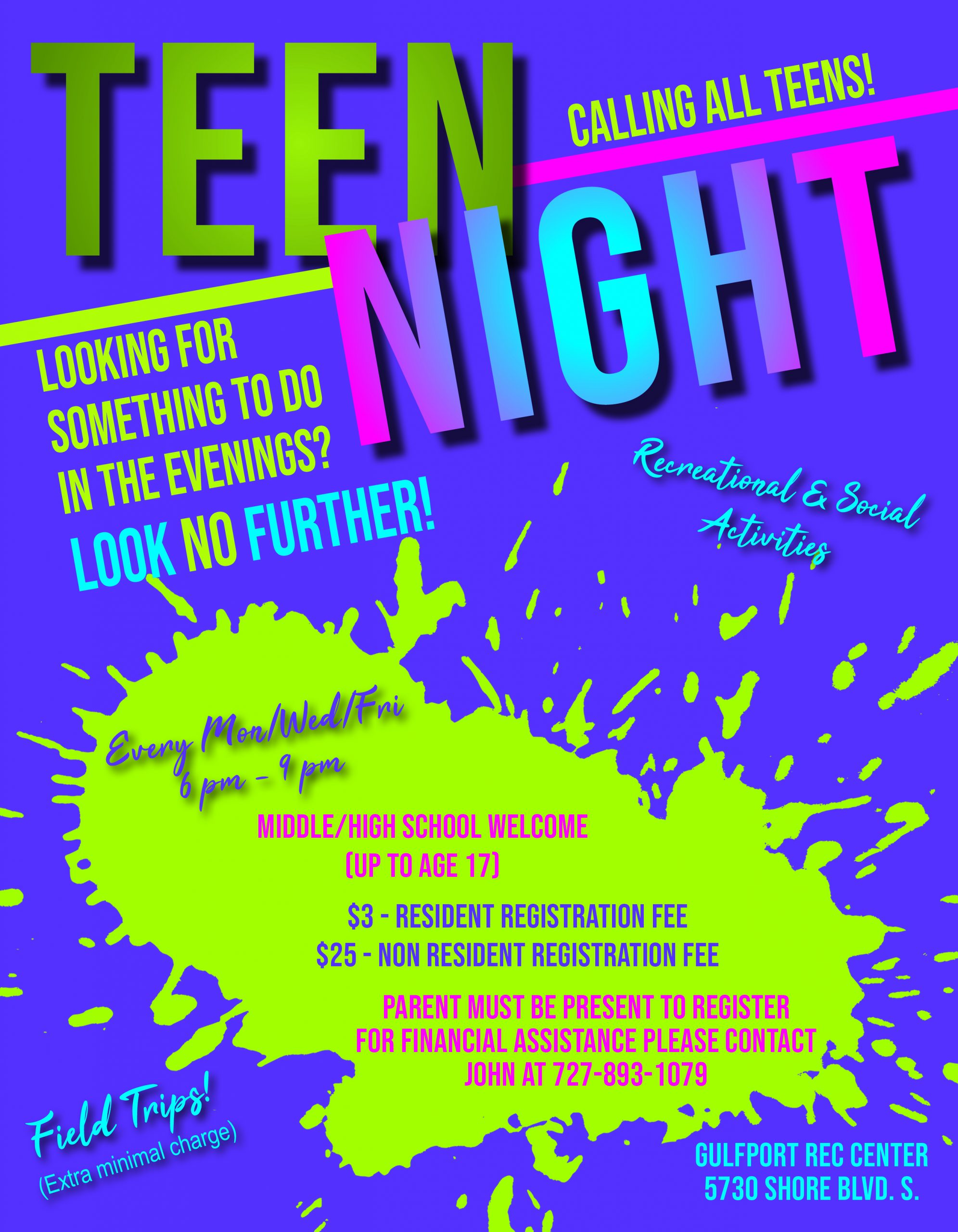 Flyer for Monday, Wednesday and Friday 6PM Teen Night