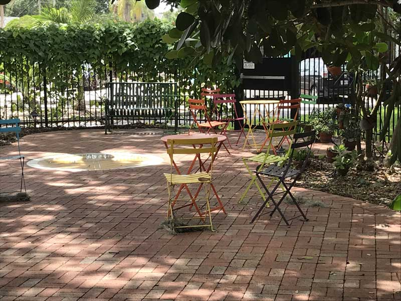 small table and chairs in COF Gardens