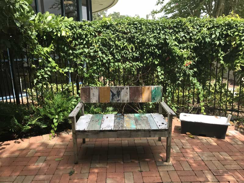 Painted Bench in the Friends Garden