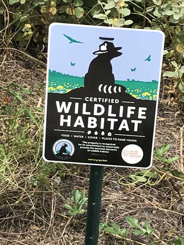 Wildlife Habitat Sign in Garden