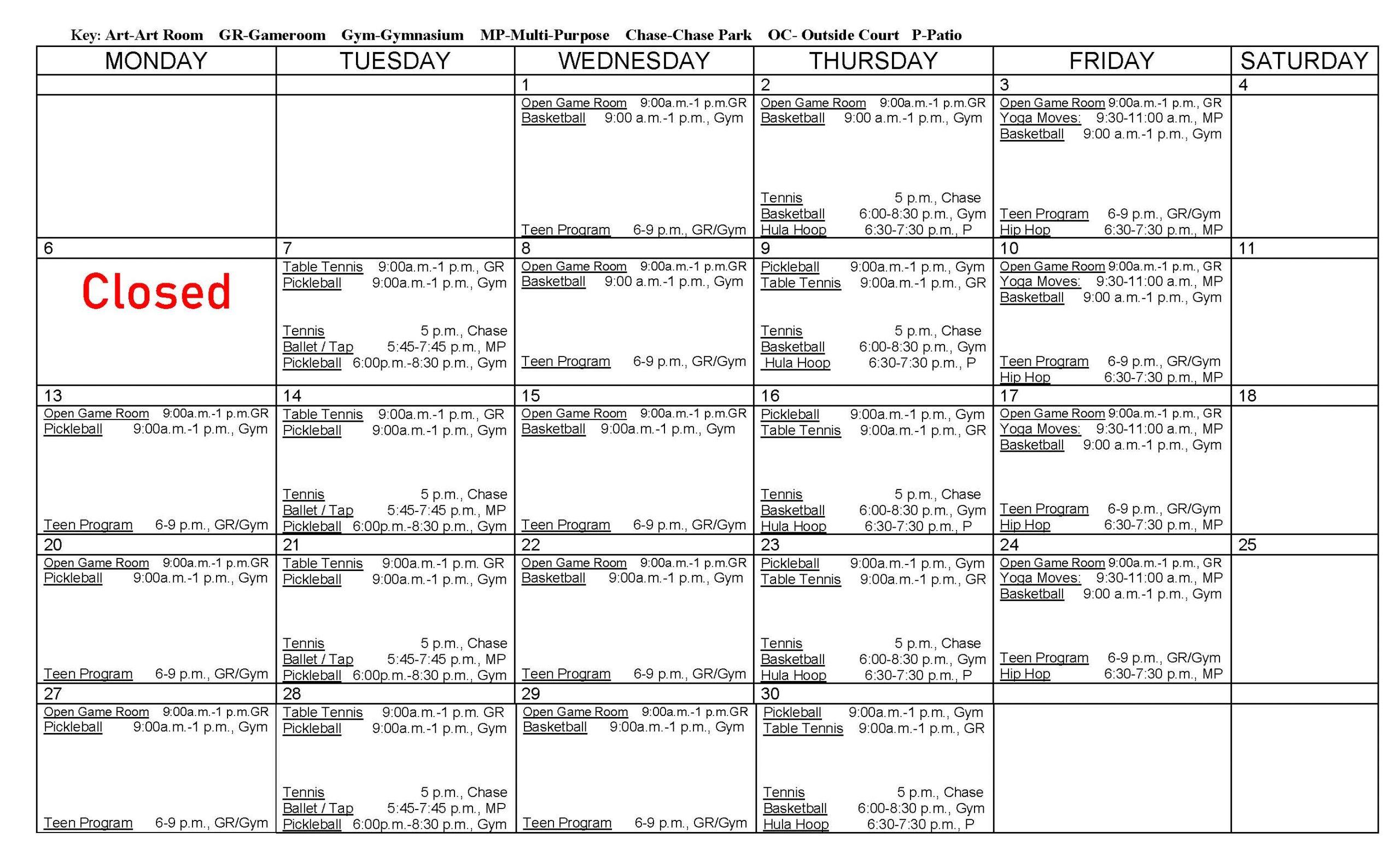 September Recreation Center Calendar